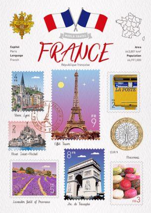 World Travel France Postcard
