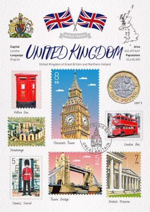 World Travel United Kingdom Postcard