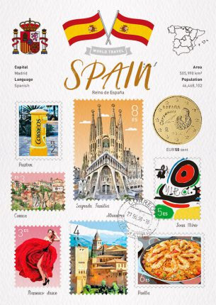 World Travel Spain Postcard
