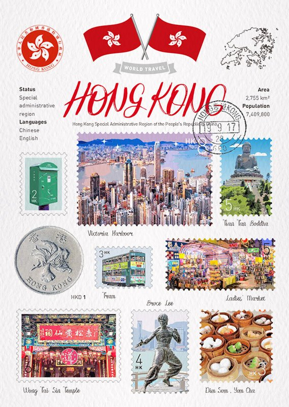 World Travel Hong Kong Postcard