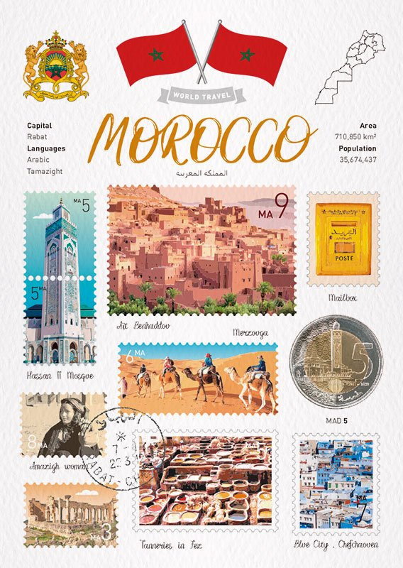 World Travel Morocco Postcard