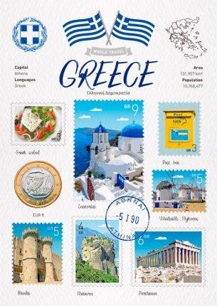 World Travel Greece Postcard