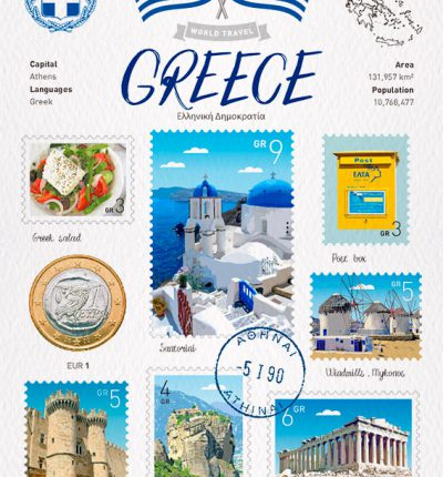 World Travel Greece Postcard