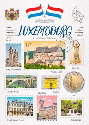World Travel Luxembourg Postcard