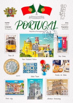 World Travel Portugal Postcard