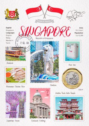 World Travel Singapore Postcard