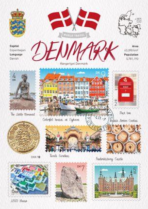 World Travel Denmark Postcard