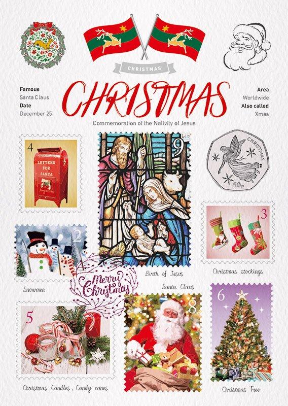 World Travel Christmas Postcard