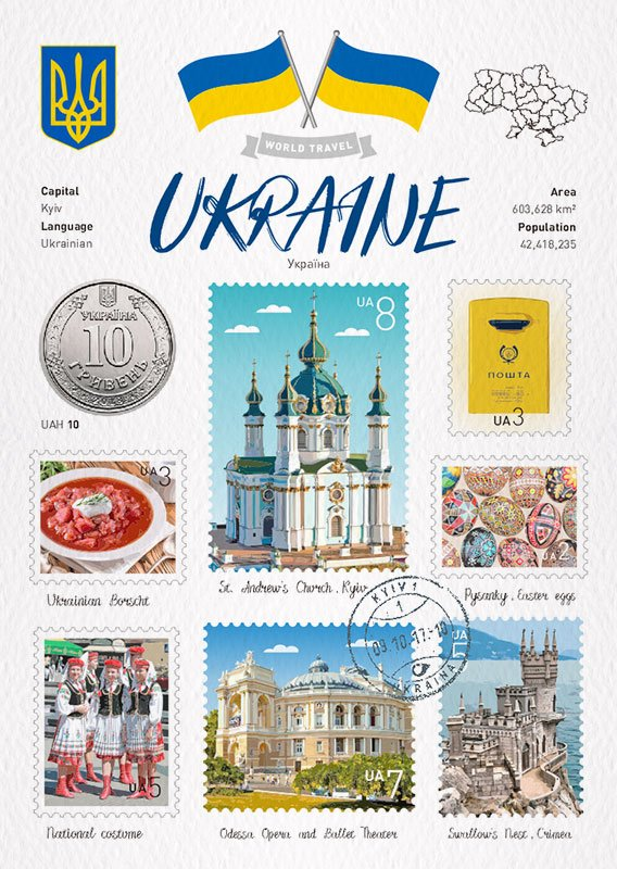 World Travel Ukraine Postcard