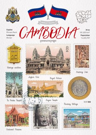 World Travel Cambodia Postcard