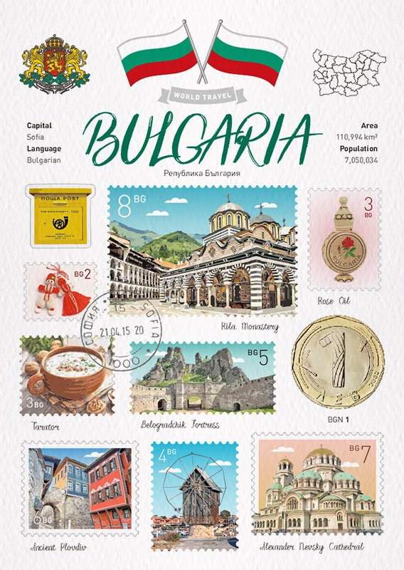 World Travel Bulgaria Postcard